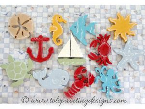 Beach Ornaments Painting Pattern
