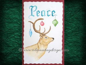 Christmas Reindeer Watercolor Painting Pattern