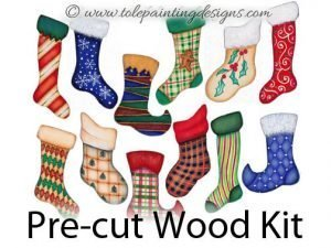 Christmas Stockings Wood Painting Surface