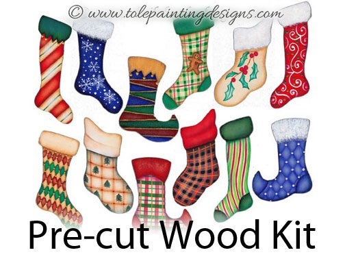 Christmas Stockings Wood Painting Surface