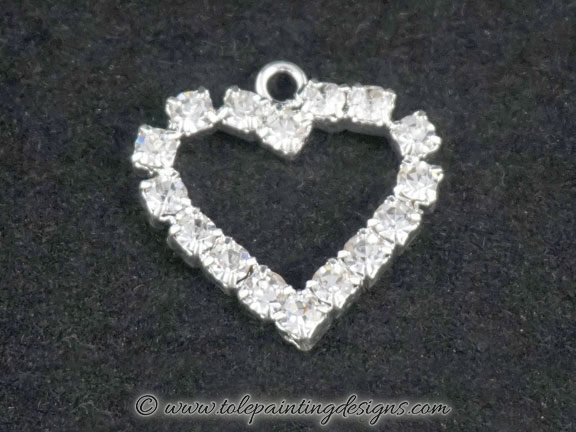 Clear Crystal Heart Charm