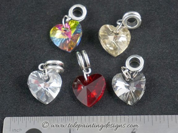 Glass Faceted Heart Charms