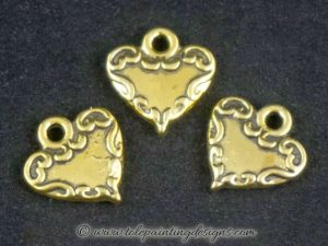 Gold Heart Metal Charms