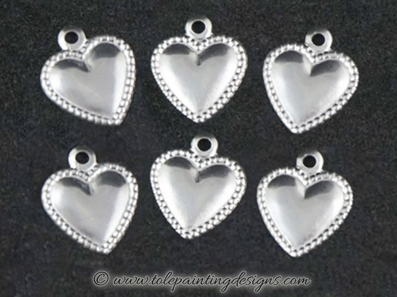 Raised Heart Metal Charms