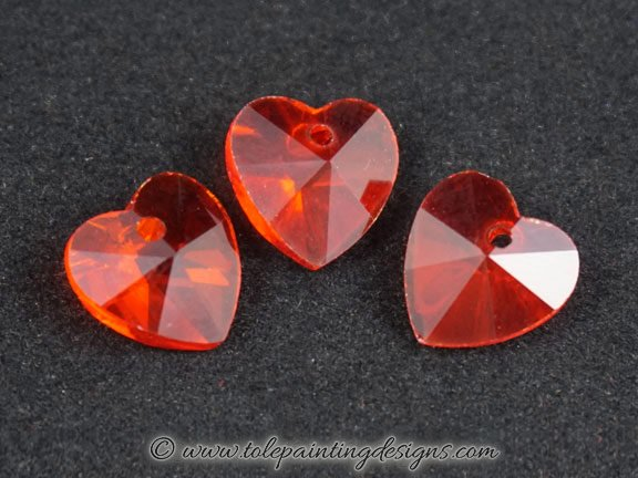 Red Glass Heart Beads