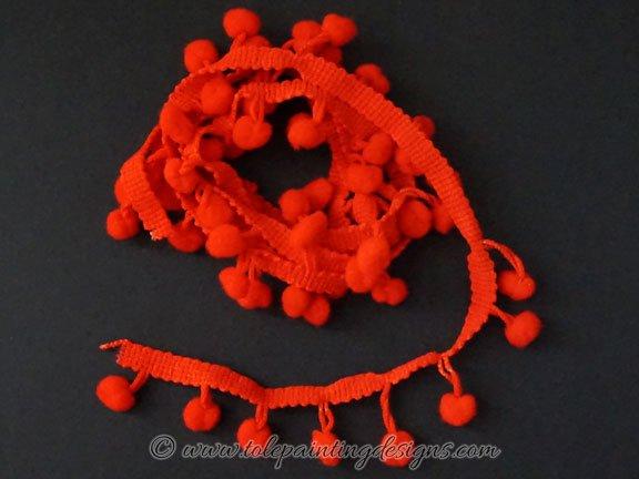 Red Pompom Trim
