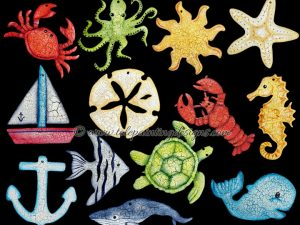 Sea Life Nautical Painting Pattern