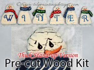 Snowman Tole Painting Wood Surface