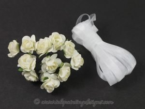 White Roses Organza Ribbon