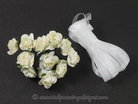 White Roses Organza Ribbon
